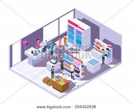 Isometric Grocery Store Interior. Supermarket Interior With Shopping People And Food On Shelves And