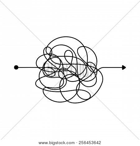 Insane Messy Line. Complicated Clew Way. Tangled Scribble Vector Path. Chaotic Difficult Process Way