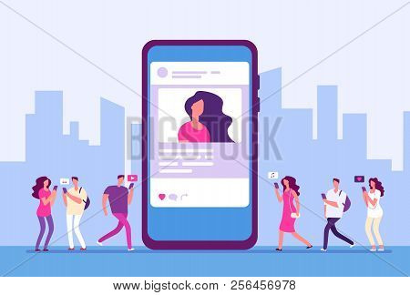 Social Media Concept. People Follow Smartphone With Internet Marketing, Message And Icons. Social Co