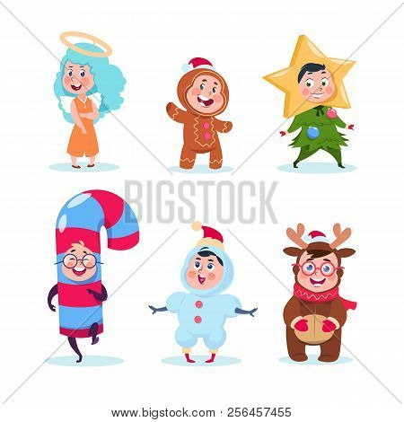 Kids In Christmas Costumes. Funny Children Celebrating Xmas And Winter Holidays. Cartoon Christmas V