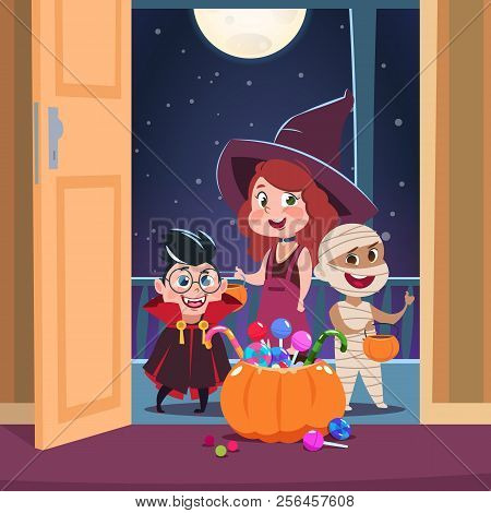 Halloween Trick Or Treat Background. Kids In Halloween Costumes With Candies In Doorway. Spooky Octo