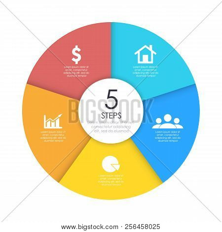 Round Infographic Diagram. Circles Of 5 Elements Or Steps. Vector Eps10