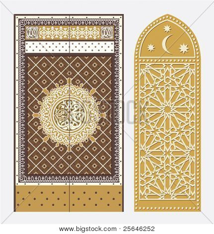 vector illustration of a door in Arabian style