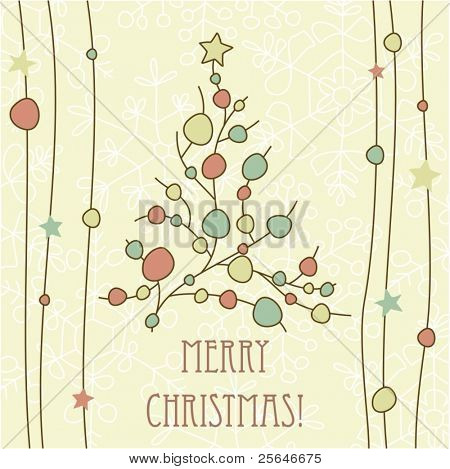 Christmas greeting card with tree, stars and snowflakes. Vector illustration