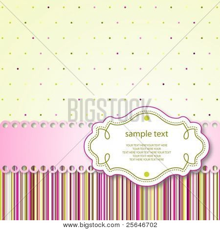 Cute template frame design for greeting card, raster version also available in my portfolio