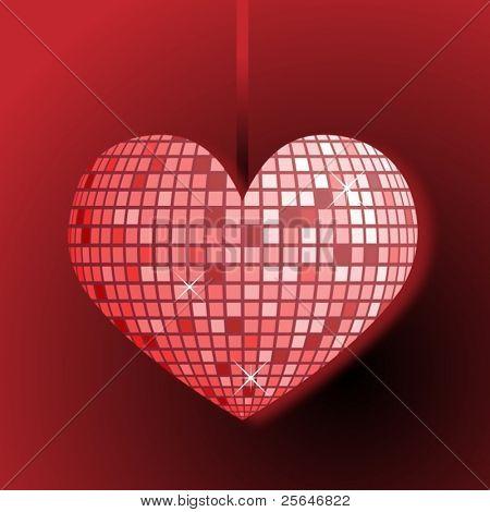 Disco ball heart, vector illustration