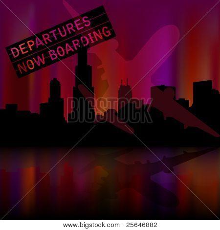 Chicago skyline background with airplane