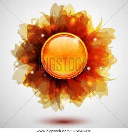 Abstract background with transparent flowers and button, vector version also available in my portfolio