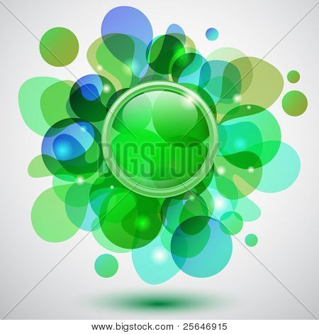 Abstract background with bubbles and green button, vector version also available in my portfolio