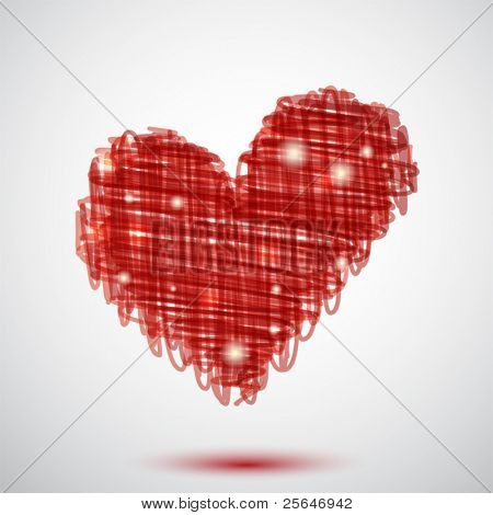 Background with red scribble heart and lights