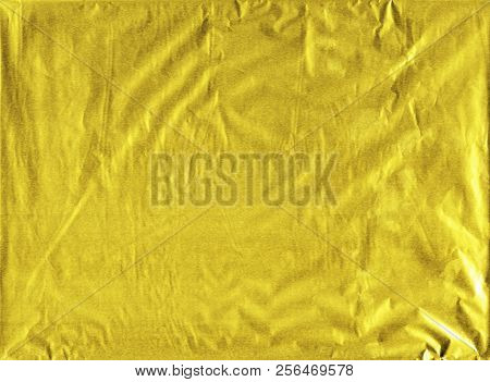 Shiny Yellow Gold Wrapping Paper Foil Texture For Wallpaper Decoration Element Background, Stock Pho