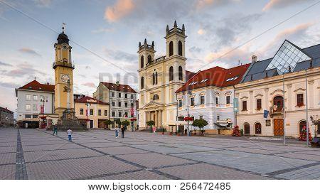 Banska Bystrica, Slovakia - July 19, 2018: Main Square In Banska Bystrica, Central Slovakia.