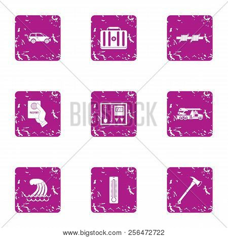 Rectify Icons Set. Grunge Set Of 9 Rectify Vector Icons For Web Isolated On White Background