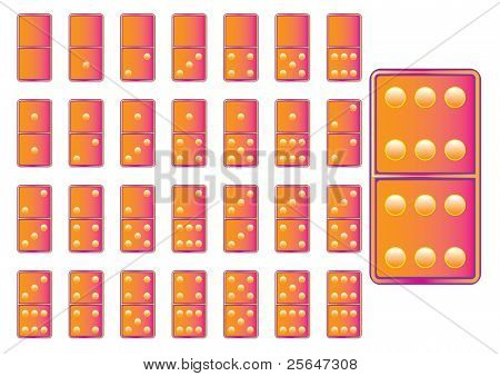 orange- pink domino game  blocks, numbers from one to six