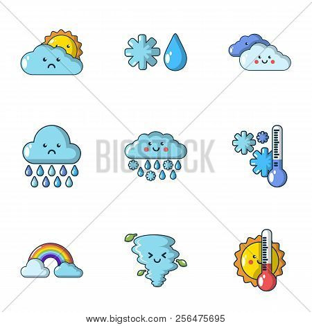 Wet Weather Icons Set. Cartoon Set Of 9 Wet Weather Vector Icons For Web Isolated On White Backgroun