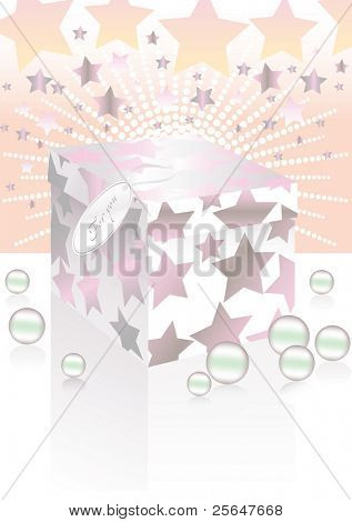 Vector illustration of gift box covered with stars.