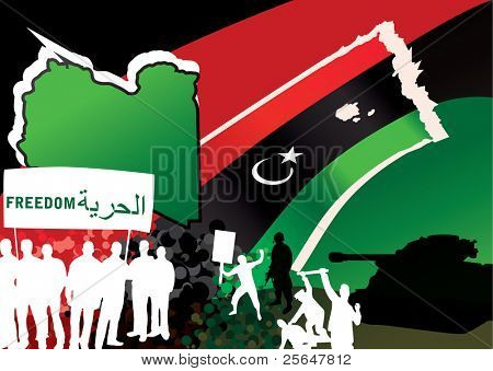 Vector illustration of Libyan rebels
