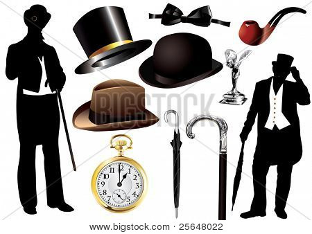 Victorian gentleman set with objects and silhouette