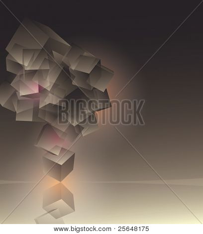 Stack of 3d flying cubes