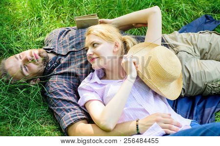 Guy And Girl Dreamy Relaxed Enjoy Tranquility Nature. Couple In Love Relaxing Outdoors. Man Unshaven