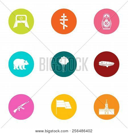 Russian stereotype icons set. Flat set of 9 russian stereotype vector icons for web isolated on white background poster