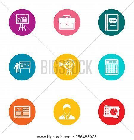 Economic Training Icons Set. Flat Set Of 9 Economic Training Vector Icons For Web Isolated On White