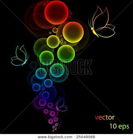 Abstract colorful background with butterflies. Vector.