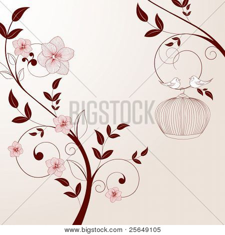 Beautiful vintage floral background with birds.