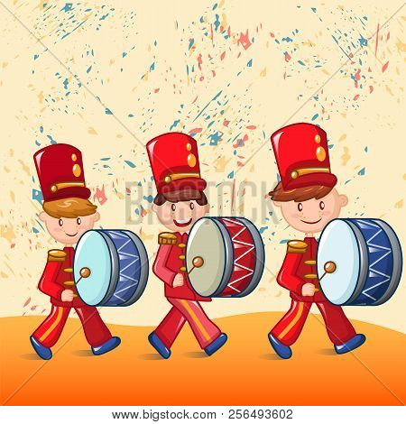Red Drummers Concept Background. Cartoon Illustration Of Red Drummers Vector Concept Background For