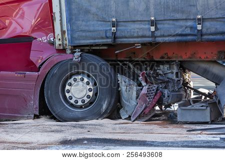 The Collision Of Two Trucks In Latvia, On The A8 Road, Occurred On August 23, 2018