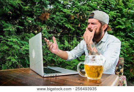Fan Watch Stream Online While Sit Terrace Outdoors With Beer Mug. Brutal Man Leisure With Beer And S