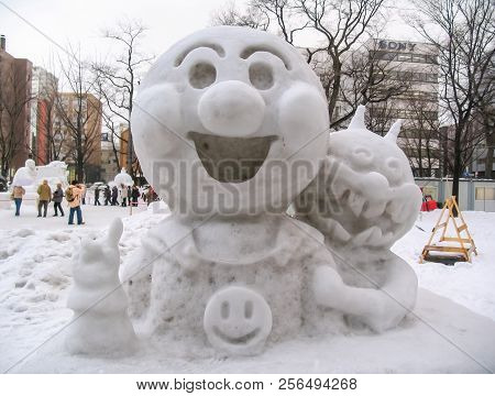Sapporo, Japan - January 10, 2017: Snow Sculptures In Winter. Creative From Ice And Snow. Festival O
