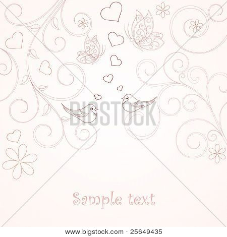 Floral background with birds.