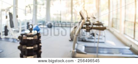 Panoramic Blurry Background Fitness Center At Apartment Complex