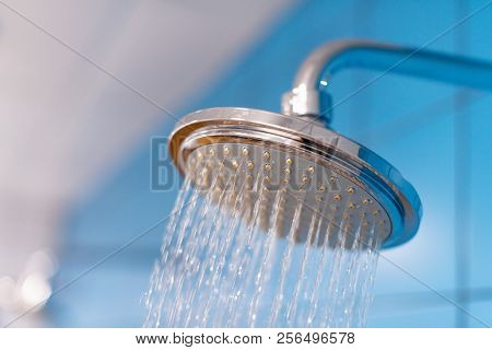 Shower Head With Refreshing Cold Water. Water Supply Is Turned On