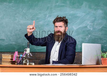 Teacher Bearded Man Tell Interesting Story.teacher Interesting Interlocutor As Best Friend. Teacher
