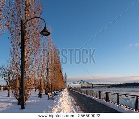 A Snowy Quai Del'horloge In Montreal Near Old Port