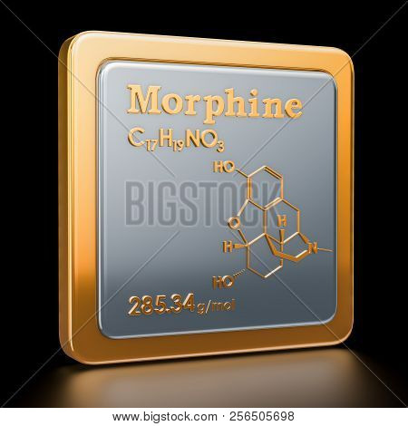 Morphine. Icon, chemical formula, molecular structure. 3D rendering poster