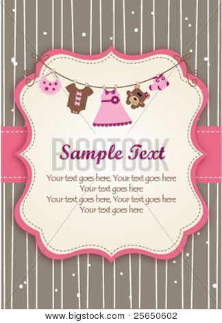 Baby girl invitation card