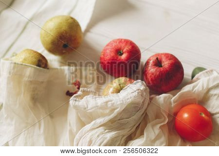 Eco Natural Bags With Fruits, Eco Friendly. Sustainable Lifestyle Concept. Zero Waste Food Shopping.