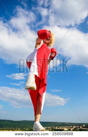 Assert Her Point Of View. Satisfied Free Girl Boxing Gloves. Femininity And Strength Balance. Woman