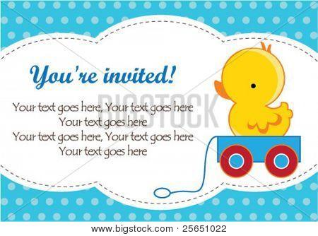 Cute baby boy shower invitation