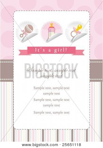Baby girl stickers collection on invitation