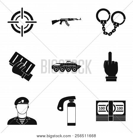 Hostility Icons Set. Simple Set Of 9 Hostility Icons For Web Isolated On White Background