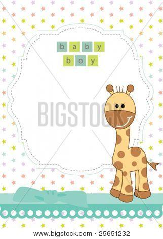 Baby boy arrival announcement giraffe card