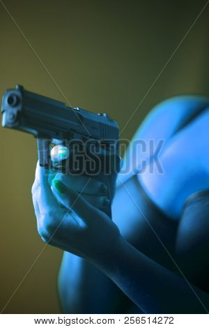 Sexy Big Breasts Woman Gun