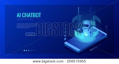 Isometric Artificial Intelligence. Chatbot And Future Marketing. Ai And Business Iot Concept. Dialog