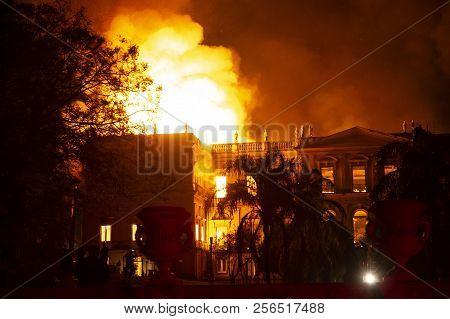 Rio De Janeiro, Brazil - September 02, 2018:  Fire In The Museum Of Brazil, Incalculable Loss As A L