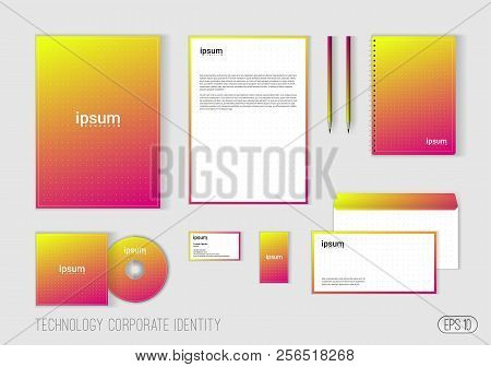 Corporate Identity Template For Technology Company, Modern Stationery Template Design For Business.