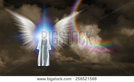 Surrealism. Figure in white cloak stands before shining light with white angel's wings. 3D rendering